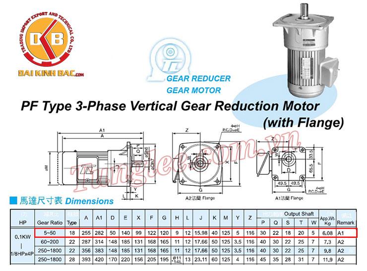 CATALOGUE motor Tunglee mặt bích PF18-0100-20S3